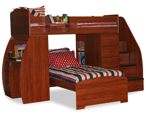 Berg Furniture - Twin over Twin with Desk and Chest - 22-805-80