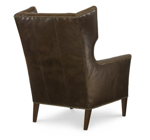 Century Furniture - Leather Wing Chair - PLR-8501-CAFE
