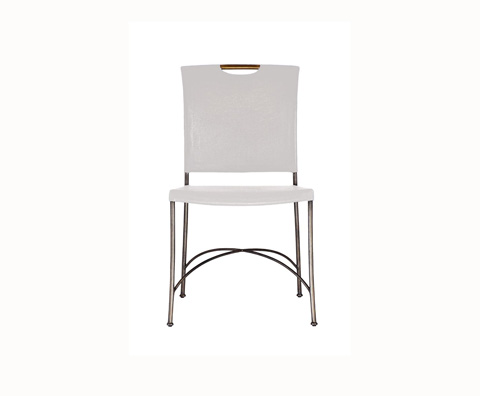 Curate by Artistica Metal Design - Worn Ivory Canvas and Iron Side Chair - C408-020