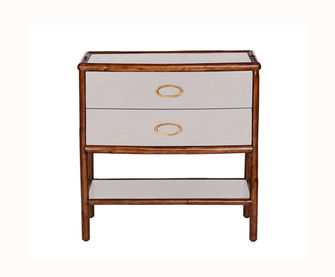 Curate by Artistica Metal Design - Worn Ivory Canvas Nightstand - C408-510