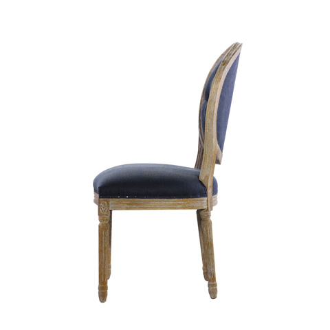 Curations Limited - Vintage Louis Round Button Indigo Side Chair - 8827.1109