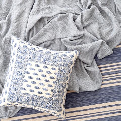 Dash & Albert Rug Company - Cottage Stripe French Blue Wool Woven Rug - RDA329-58