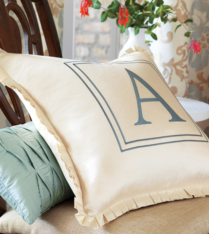 Eastern Accents - Witcoff Ivory Pillow with Monogram - KNE-05