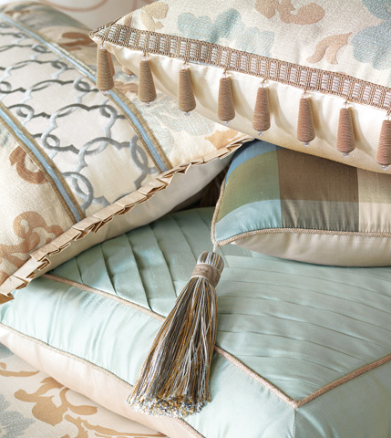 Eastern Accents - Beckford Sky Tufted Pillow - KNE-08