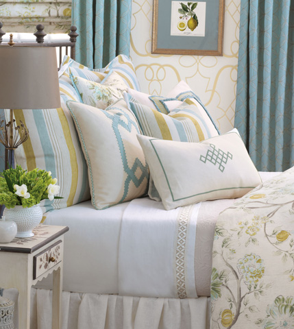 Eastern Accents - Filly White Pillow with Ribbon Design - MAG-04