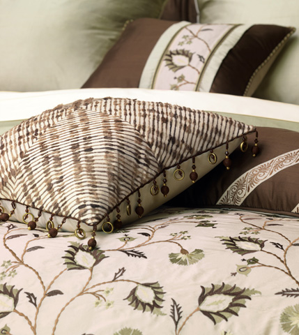 Eastern Accents - Serico Brown Pillow with Border - MIC-07