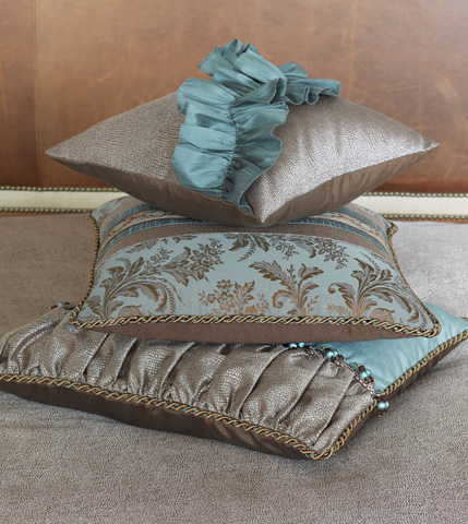Eastern Accents - Dunaway Umber Pillow with Ruffle - MOT-02
