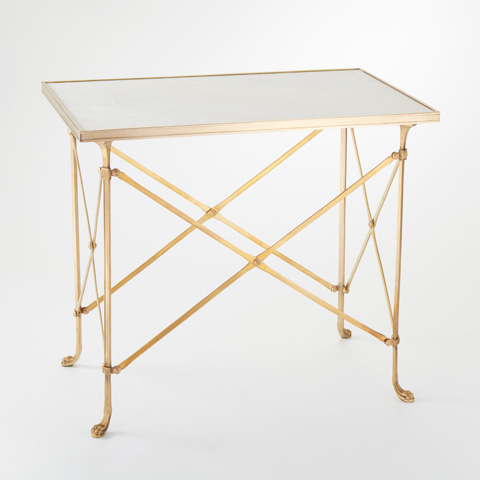 Global Views - Brass & White Marble Rectangle Directoire Table - 8792
