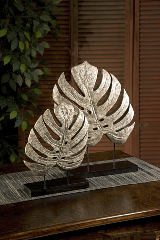 IMAX Worldwide Home - Silver Antiqued Leaves - Set of 2 - 13424-2