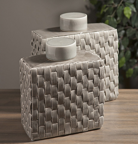 IMAX Worldwide Home - Sophie Woven Ceramic Canisters - Set of 2 - 64243-2
