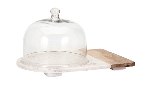 IMAX Worldwide Home - Lyna Marble and Wood Cheese Dome - 82506