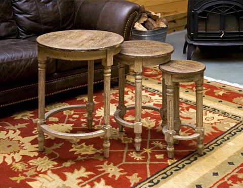 IMAX Worldwide Home - Antique Inspired Nesting Tables - Set of 3 - 87320-3