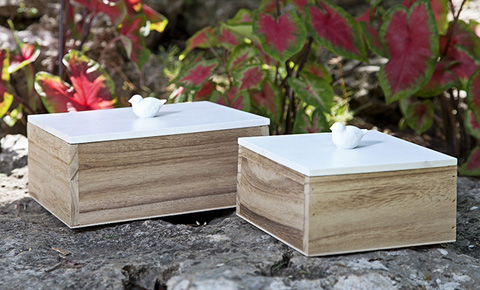IMAX Worldwide Home - Mochrie Lidded Boxes - Set of 2 - 97400-2