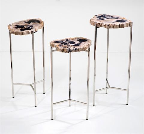 Interlude Home - Armani Petrified Wood Drink Table - 158065