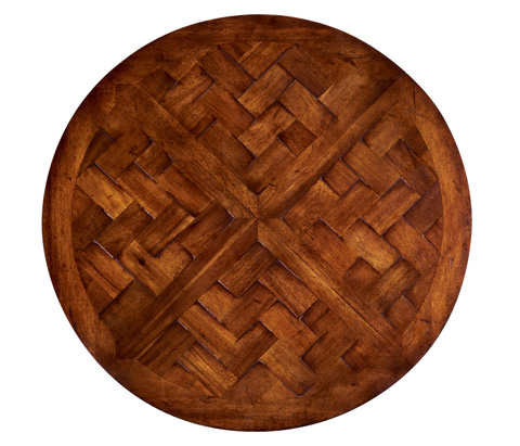 Jonathan Charles - Round Parquet Topped Side Table - 492021