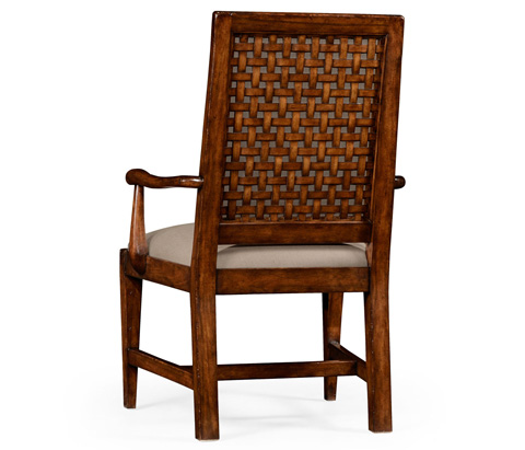 Jonathan Charles - Lattice Work Backed Upholstered Arm Chair - 494541