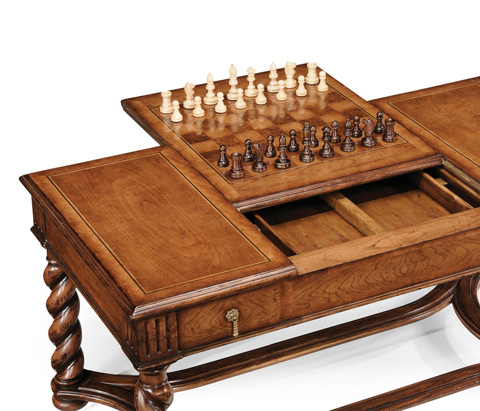 Jonathan Charles - Walnut Parquetry Coffee Game Table - 492004