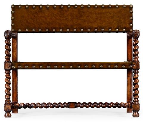 Jonathan Charles - Tudor Style Leather Bench - 492245