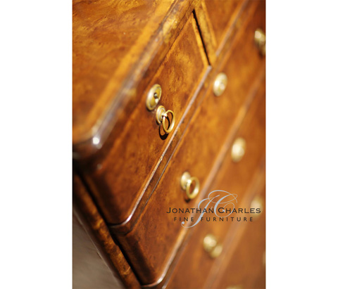 Jonathan Charles - Bow Front Walnut Chest of Six Drawers - 492421