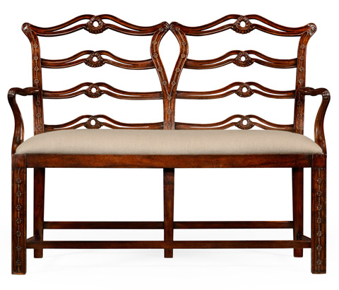 Jonathan Charles - Chippendale Style Double Bench with Pierced Back - 492565