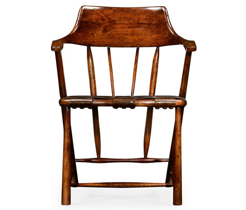 Jonathan Charles - Walnut Smokers Chair with Webbed Leather Seat - 492783