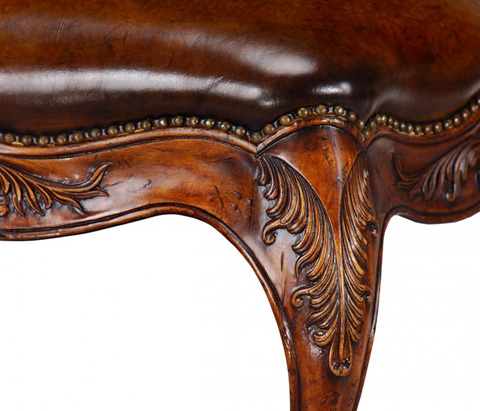 Jonathan Charles - Long French Provincial Walnut Footstool - 492812
