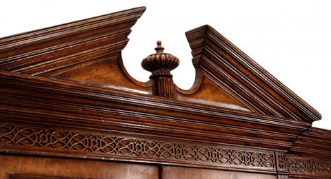 Jonathan Charles - Walnut Glazed Triple Display Cabinet - 493065