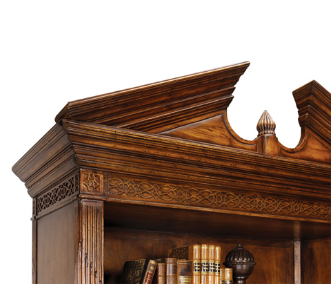 Jonathan Charles - Walnut Open Bookcase with Pediment - 493081