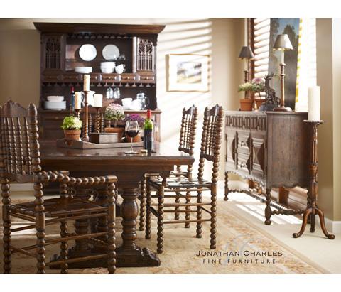 Jonathan Charles - Bobbin Dark Oak Chair with Woven Leather Seat - 493241