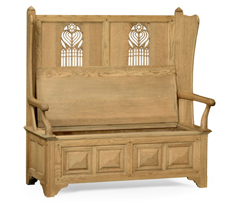 Jonathan Charles - Natural Oak Gothic Style Sette with Storage - 493375-L
