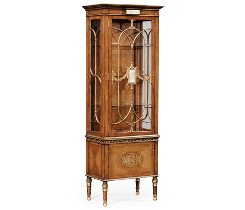 Jonathan Charles - Narrow Satinwood Display Cabinet - 493585