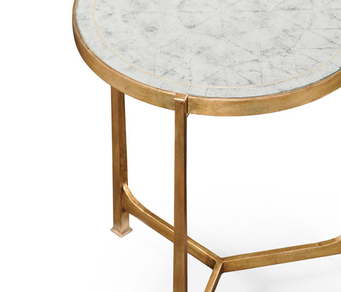 Jonathan Charles - Eglomise and Gilded Iron Lamp Table - 494080-G