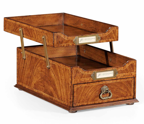 Jonathan Charles - Crotch Walnut Letter Tray with Drawer - 494265