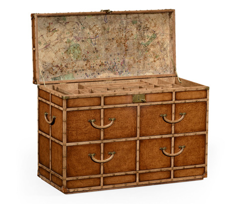 Jonathan Charles - Travel Trunk Style Large Fitted Chest - 494483