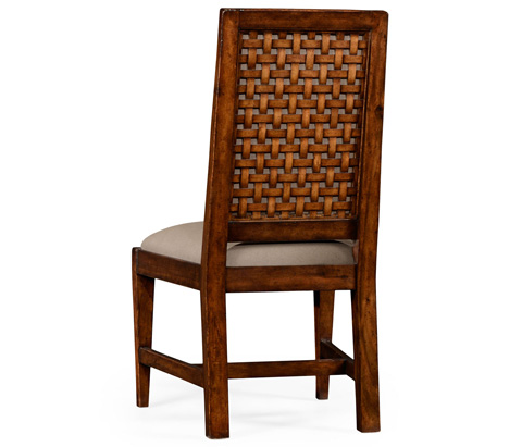 Jonathan Charles - Rustic Walnut Upholstered Side Chair - 494542