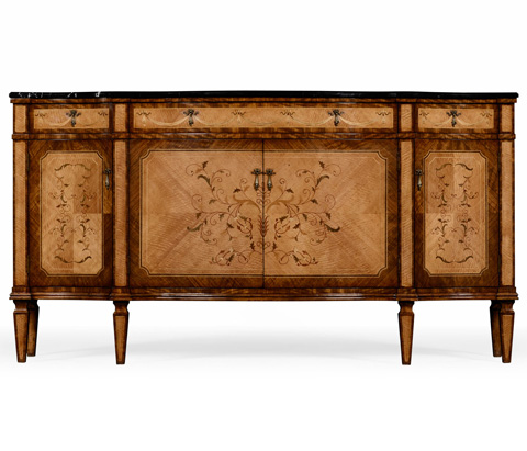 Jonathan Charles - Satinwood Serpentine Sideboard with Floral Inlay - 494655