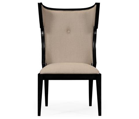 Jonathan Charles - Greek Key Design Biedermeier Black Side Chair - 495047-BLA-SC