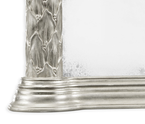 Jonathan Charles - Silver Leaf Overmantle Mirror - 495145-SIL