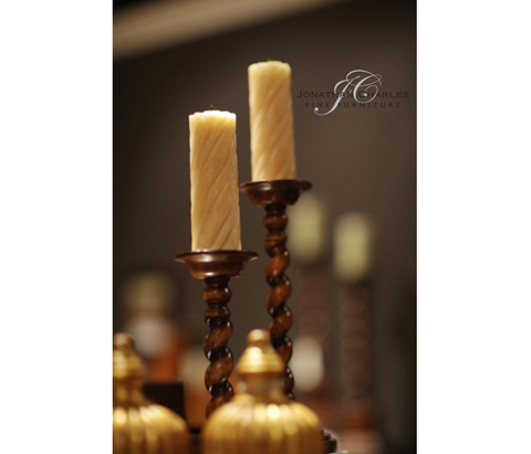 Jonathan Charles - Walnut Twisted Column Candlesticks - 492032