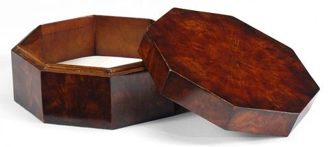 Jonathan Charles - Octagonal Mahogany Crotch Veneer Box - 493024