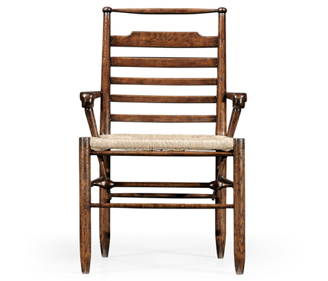 Jonathan Charles - Dark Oak Ladder Back Country Arm Chair - 494219