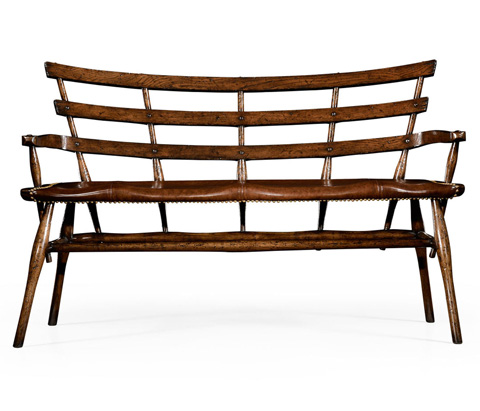 Jonathan Charles - Oak Bench With Studded Leather Seat - 494332