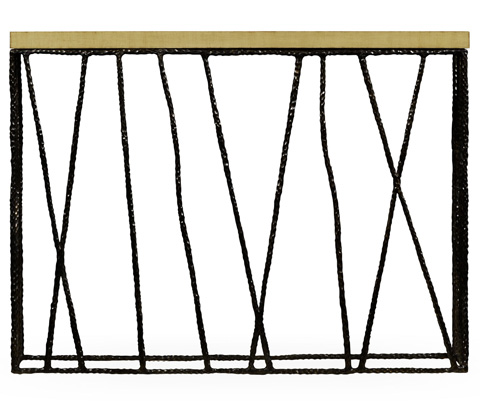 Jonathan Charles - Bronze Hammered Console with Celadon Top - 495087-BRO