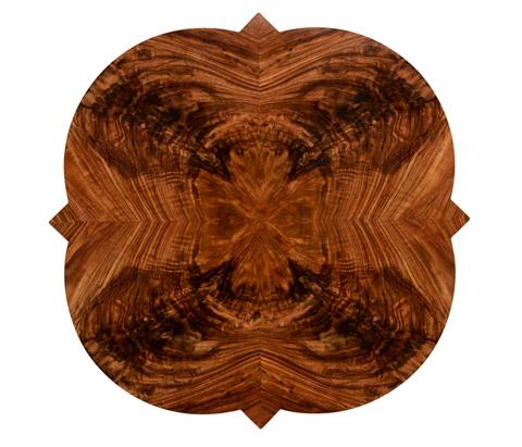 Jonathan Charles - Walnut Twisted Leg Quatrefoil Side Table - 495154-WLL