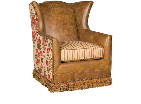 King Hickory - Athens Leather and Fabric Swivel Chair - 50771-SLF