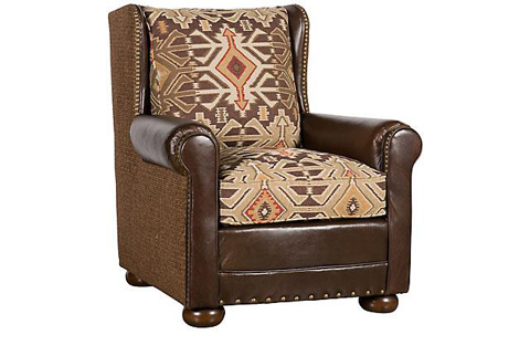 King Hickory - Carlsbad Leather and Fabric Chair - 0981-LF
