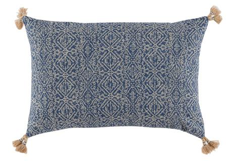 Lacefield Designs - Tassel Corner Indian Blue Printed Lumbar Pillow - D638