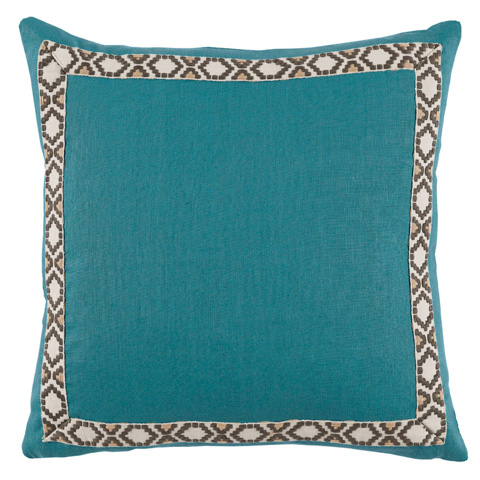 Lacefield Designs - Solid Teal Border Throw Pillow - D950