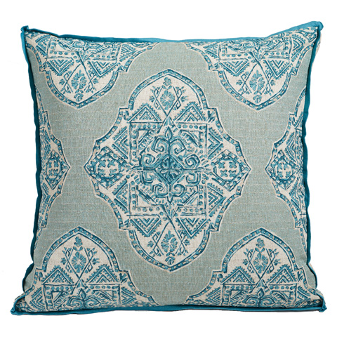 Lacefield Designs - Blue Ornate Gusset Throw Pillow - D976
