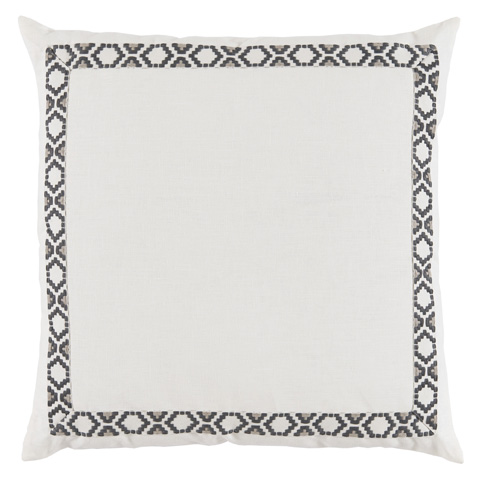 Lacefield Designs - White Oyster Linen Border Throw Pillow - D992